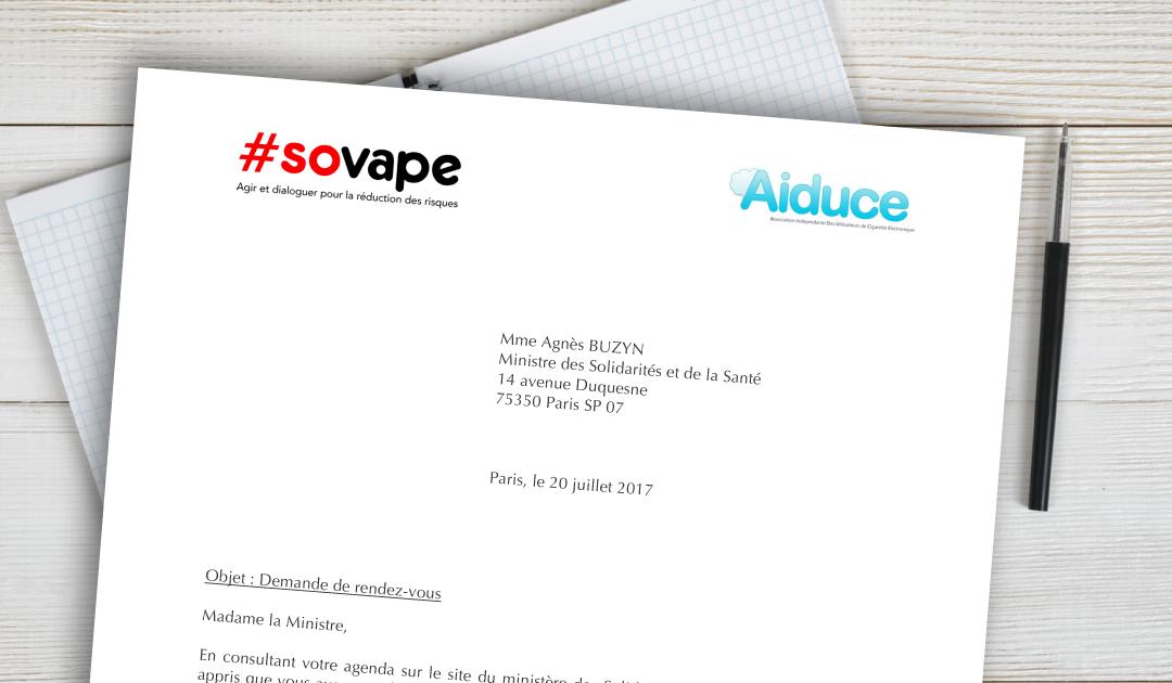 Courrier SOVAPE + AIDUCE à Agnès BUZYN ministre des solidarité et de la santé