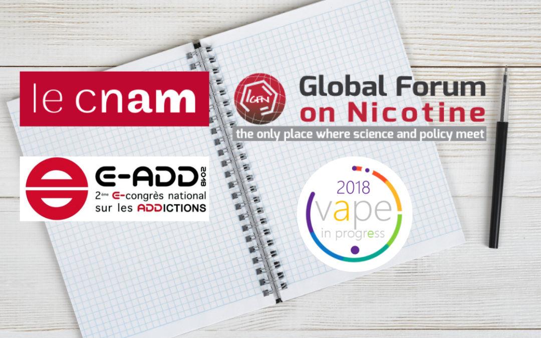 Participation SOVAPE CNAM, Vapeinprogress, GFN Varsovie, congrès E-ADD