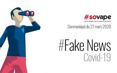 Covid-19 et vapotage : OUI aux gestes barrières, NON aux fake news !